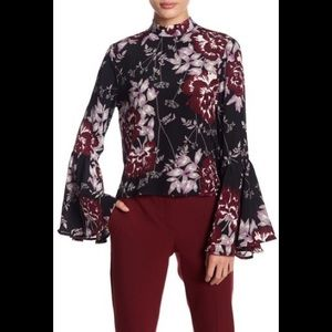 High Society Mock Neck Bell Sleeve Silk Blouse
